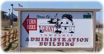 """Turn Here for the Grant Township Center Administration Building"""